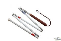 Long cane aluminum collapsible into five sections, adjustable from 143 up to 160 cm.