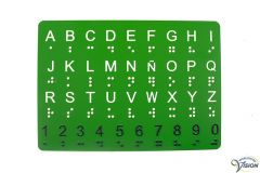 Alphabet card with braille and large print