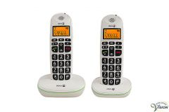 Doro PhoneEasy 100W twin set wireless Dect phones with 10 direct numbers.