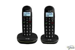 Doro PhoneEasy 110 twin set wireless dect phones with Dutch talking buttons.