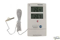 Thermometer with clock, English speaking, for indoors and outdoors
