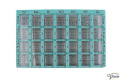 Dosett pill organiser with seven-day division and four compartments per day