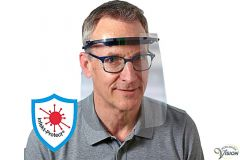 Schweizer potection shield for face with adjustable headband.