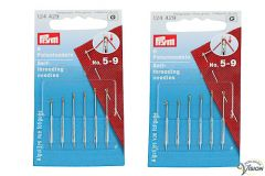 Prym open eye needles, two packets of six