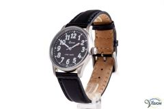 Gardé Jumbo unisex watch, polished steel case with black face of 33 mm.