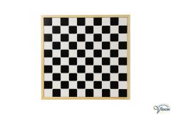 Draughts-set mad of wood with deep-lying surfaces, board dimensions 39 x 39 cm.