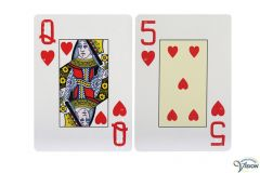 Playing cards with English braille markings and large figures and characters