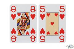 Playing cards with normal pictures and large figures and characters, type Opti