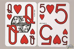 Playing cards plastified without pictures and with large figures and characters type Low Vision