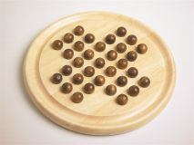 Solitaire, wooden game with wooden marbles