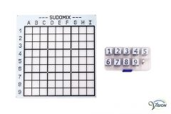 Sudomix for the blind, board  with deep-lying surfaces and magnetic figures in braille.